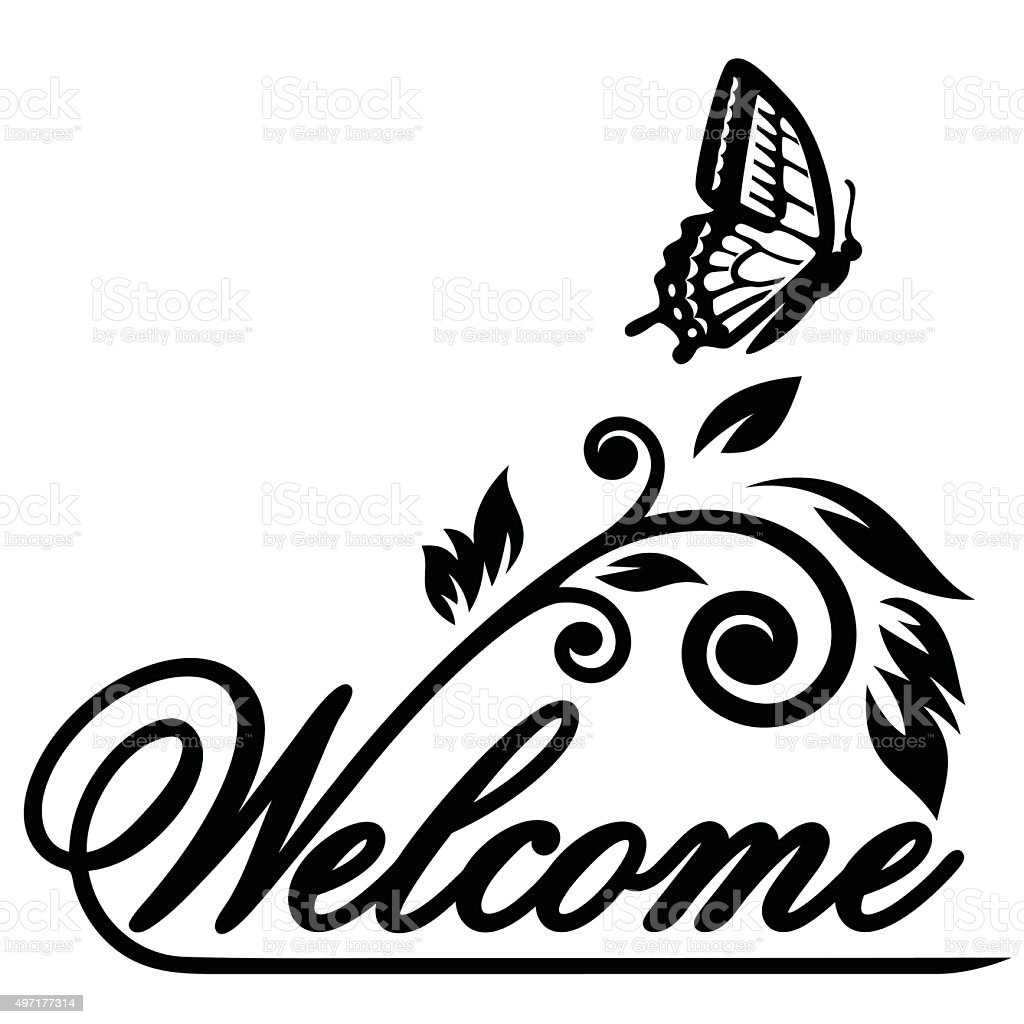 Butterfly Welcome Illustration Vector Stock Vector Art