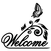 Butterfly and the word welcome vector Illustration