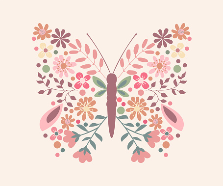 Butterfly with Floral Wings, Vector Design for Fashion and Poster Prints