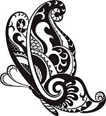 Butterfly with ornaments in the style of the Maori
