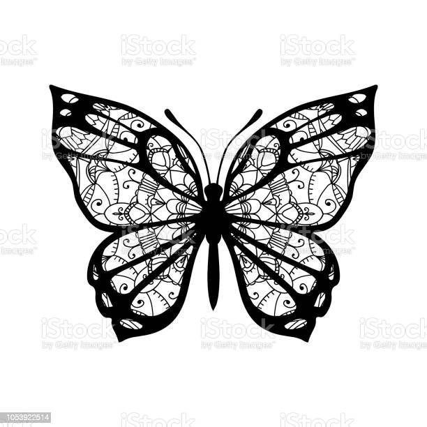 Butterfly with patterned wings black on white vector id1053922514?b=1&k=6&m=1053922514&s=612x612&h= uijcw2exeg zidqkcuyc3tzaszvtm5pc i87wk bry=