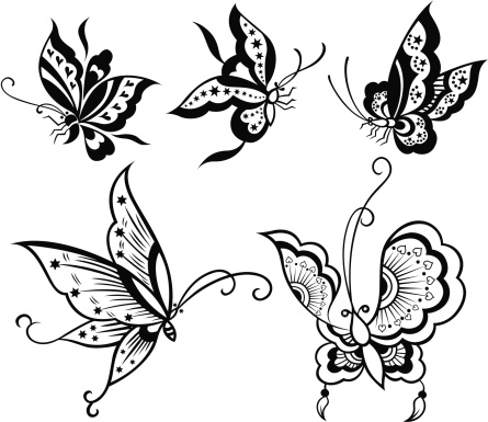 butterfly with star and heart pattern