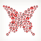 Butterfly Women Faces Girl Power Pattern. This vector collage has pink and red round buttons arrange in seamless patter. Individual iconography on the buttons shows women portraits. Women and businesswomen convey a feeling of girl power unity teamwork and partnership. This royalty free vector background graphic is ideal for your feminism and girl power concepts.