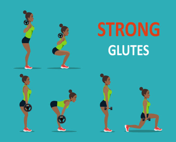 Buttocks workout. Afro american young woman doing exercise. Vector flat style isolated illustration vector art illustration