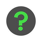 FAQ button. Green question mark symbol. Vector icon