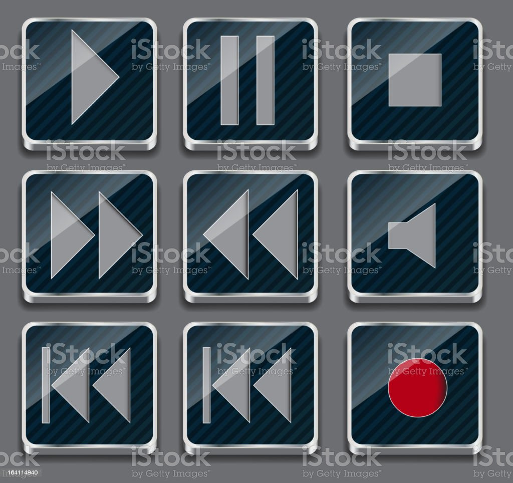 button icon on metal background. Vector illustration royalty-free stock vector art