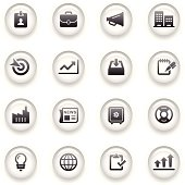 An illustration of business icons set for your web page, presentation, & design products.