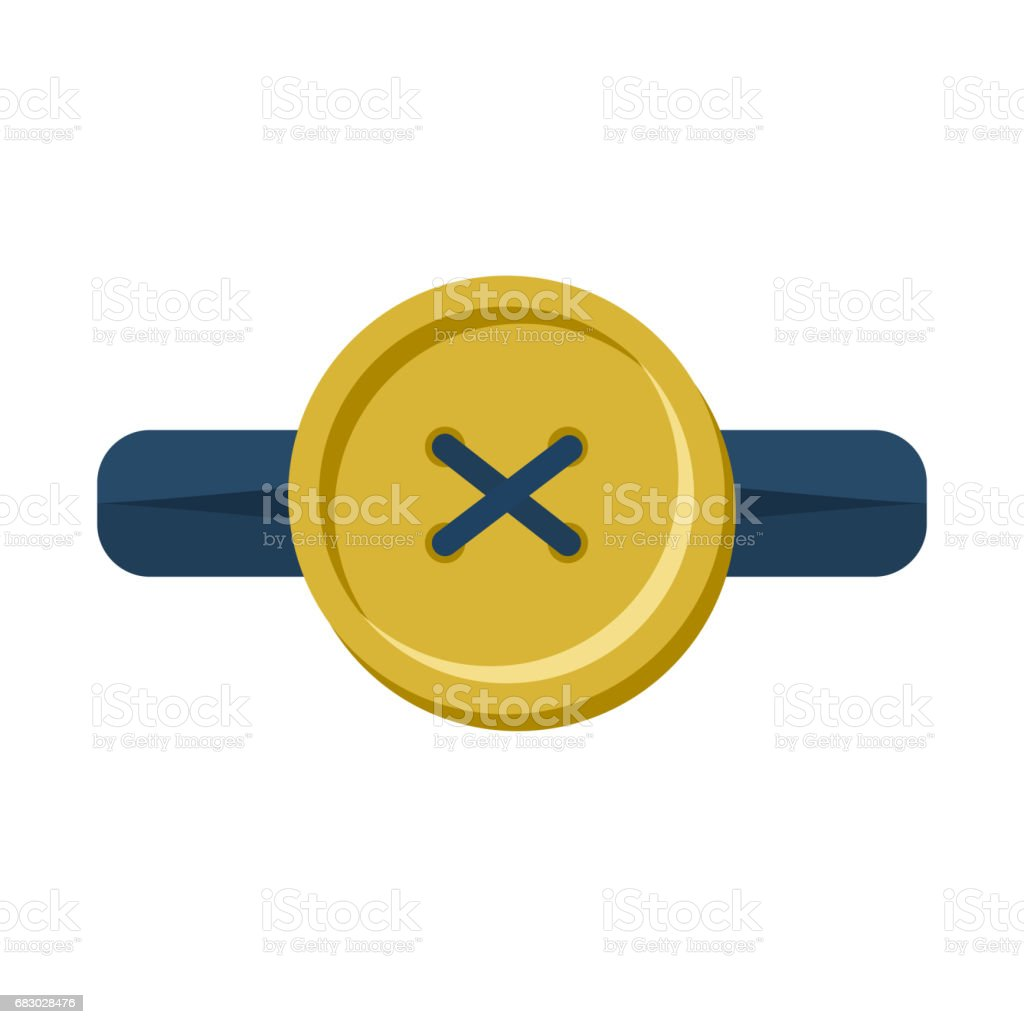 Button in buttonhole isolated. Accessories for clothes on white background vector art illustration