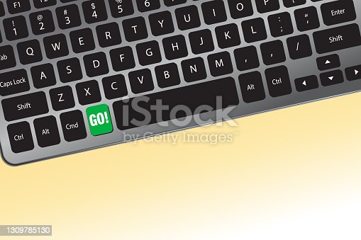 istock GO button in green on a computer keyboard - Vector Illustration 1309785130
