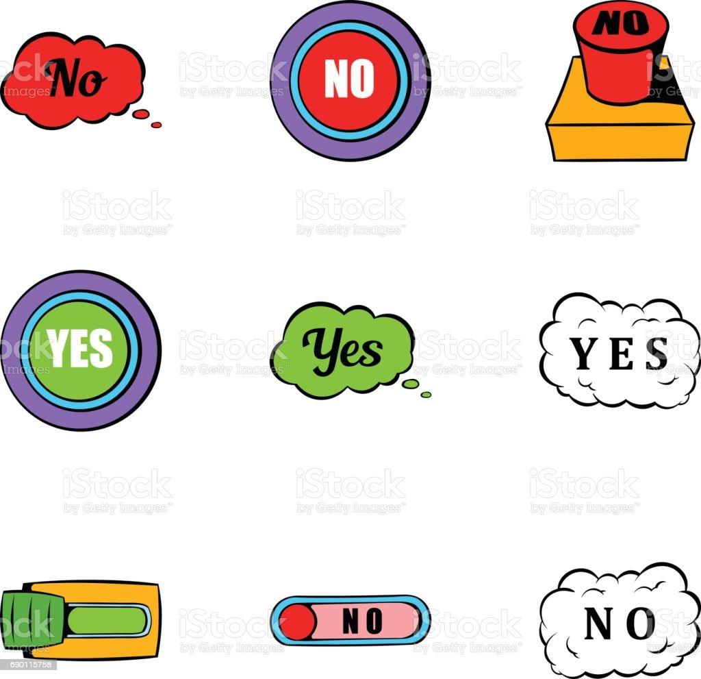 Button no icons set, cartoon style vector art illustration