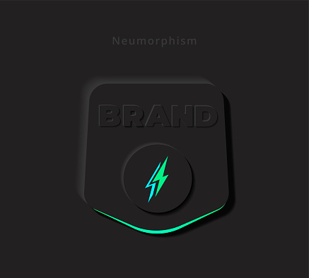 Button or Logo Symbol in Modern 3D Skeuomorphism or Neumorphism for Mobile App or Website User Interface Design