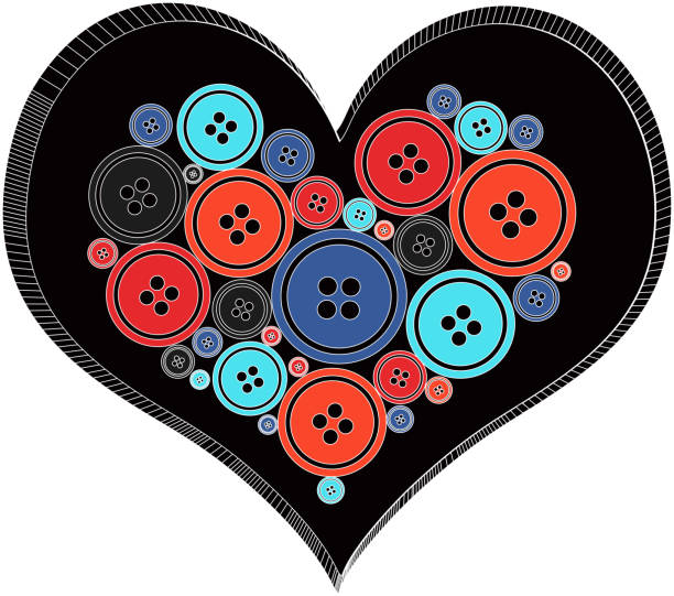 Button retro Heart vector vector art illustration