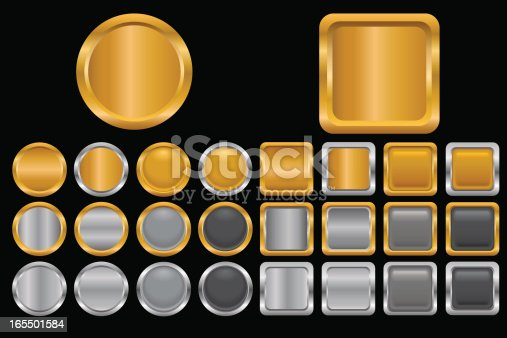 Set of different gold, silver and black buttons. No gradient mesh used, only simple linear gradients and blends. Zip file contains eps8 and AI-CS.