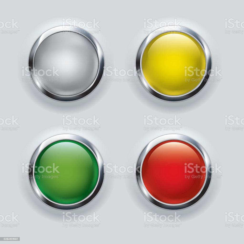button set with metallic elements on gray background vector art illustration