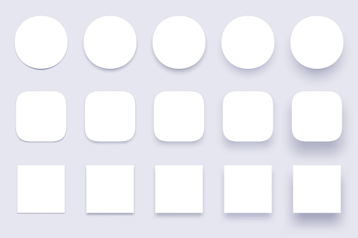 Button shadows. Simple shape shadow, clear buttons badges and miscellaneous shapes material shadows isolated 3d realistic vector set