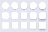 Button shadows. Simple shape shadow, clear buttons badges and miscellaneous shapes material shadows. App surface button, interface ui apps badge. Isolated 3d realistic vector icons set