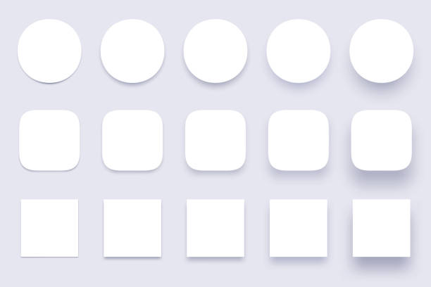 button shadows. simple shape shadow, clear buttons badges and miscellaneous shapes material shadows isolated 3d realistic vector set - przycisk stock illustrations