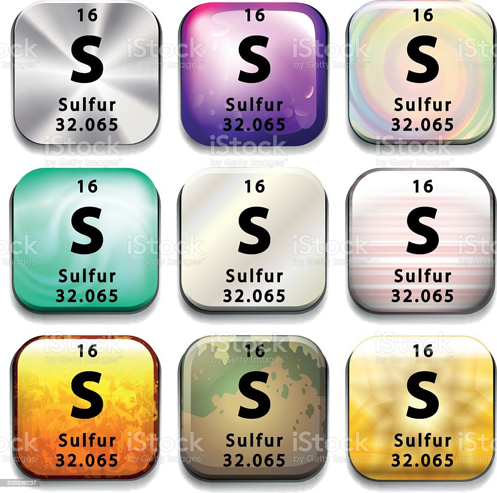 Button showing the element Sulfur vector art illustration