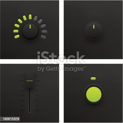 Button, Slider and Fader Vector in Vector Format. Adobe Illustrator EPS 8 and JPG File. See More...