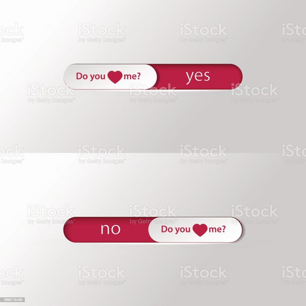 button slider Do you love me vector art illustration