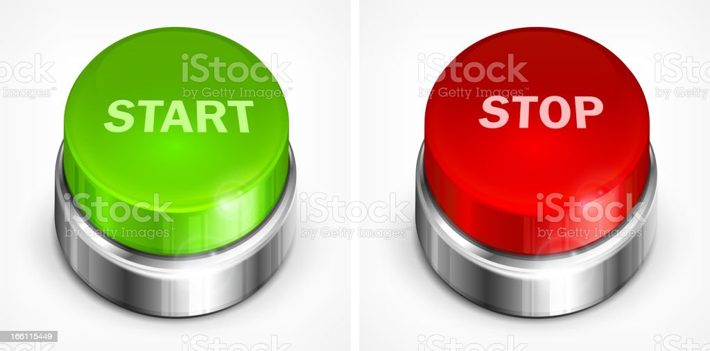 Button start and stop royalty-free button start and stop stock vector art & more images of beginnings