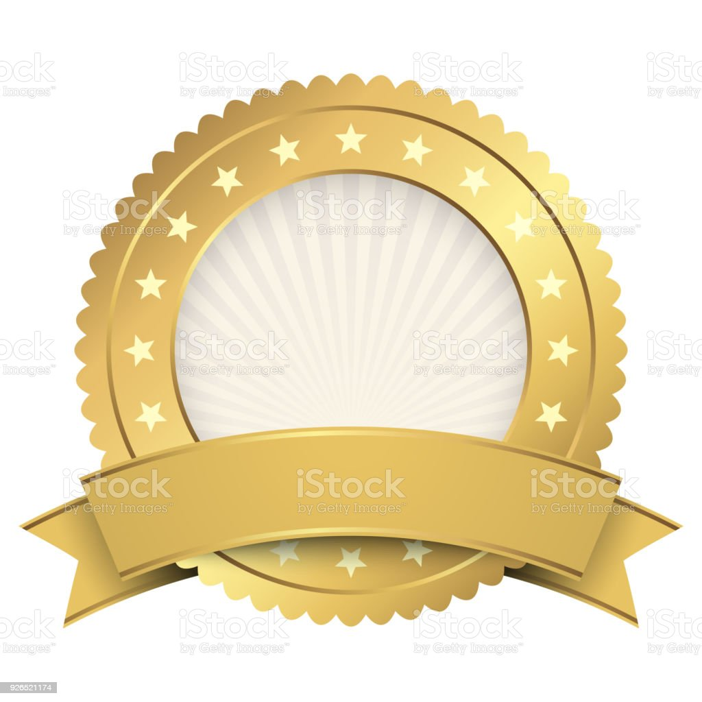 Button Template Gold With Golden Banner Stock Vector Art & More ...