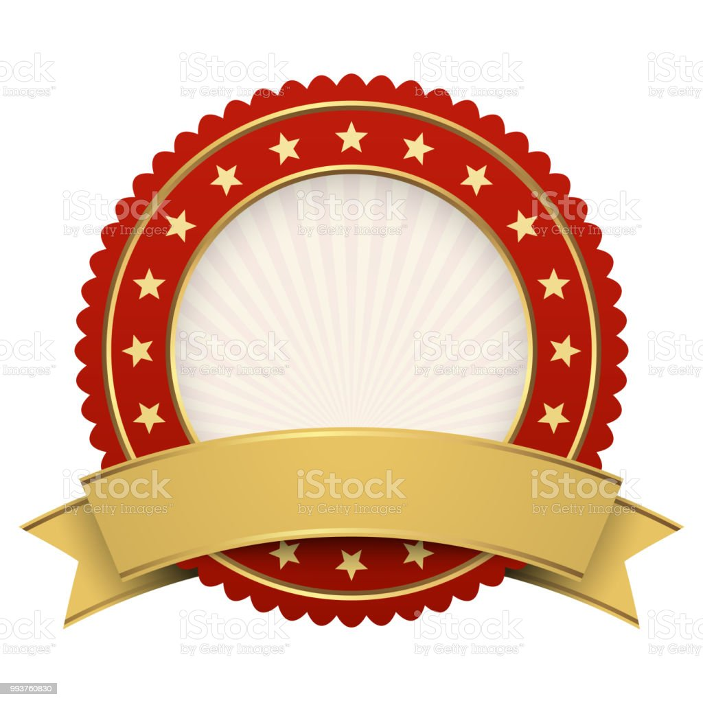 Button Template Red With Golden Banner Stock Vector Art More