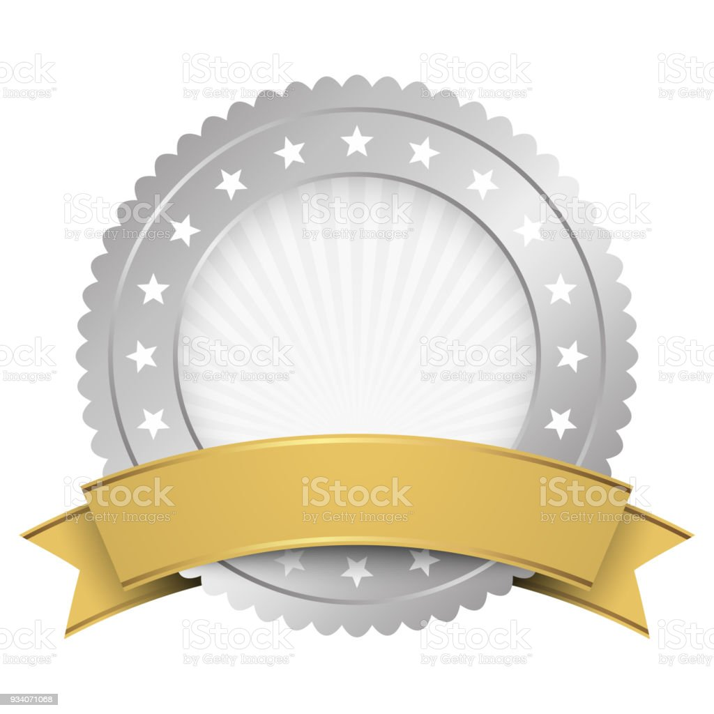 button template silver with golden banner stock vector art more