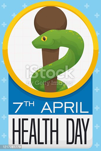 istock Button with Asclepius Snake, Rod and Reminder for Health Day 1217281779