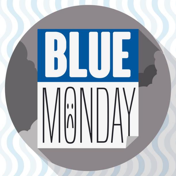 stockillustraties, clipart, cartoons en iconen met knop met slecht weer en losbladige kalender tijdens blauwe maandag - blue monday