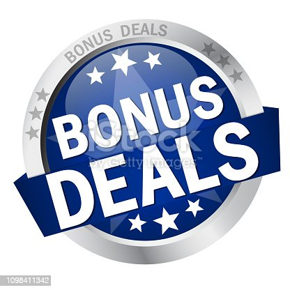 round colored button with banner and text Bonus Deals