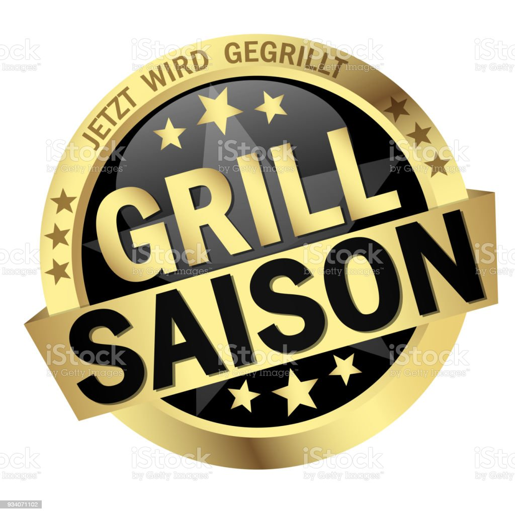 Button With Banner Grill Season Stock Vector Art More Images Of