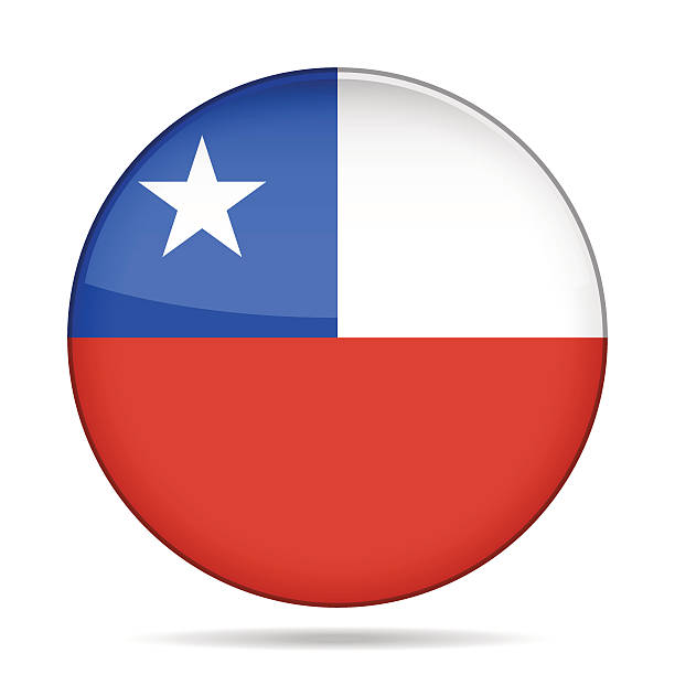 button with flag of chile - flagge chile stock-grafiken, -clipart, -cartoons und -symbole