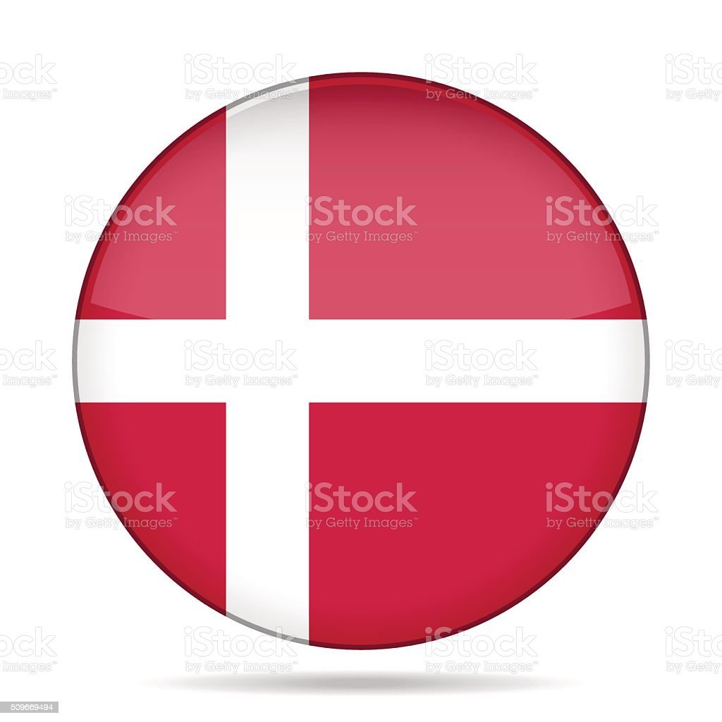 button with flag of Denmark vector art illustration