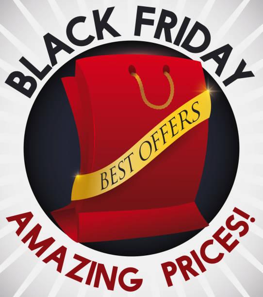 knopf mit rot einkaufstasche und farbband für black friday - stoffmarkt stock-grafiken, -clipart, -cartoons und -symbole