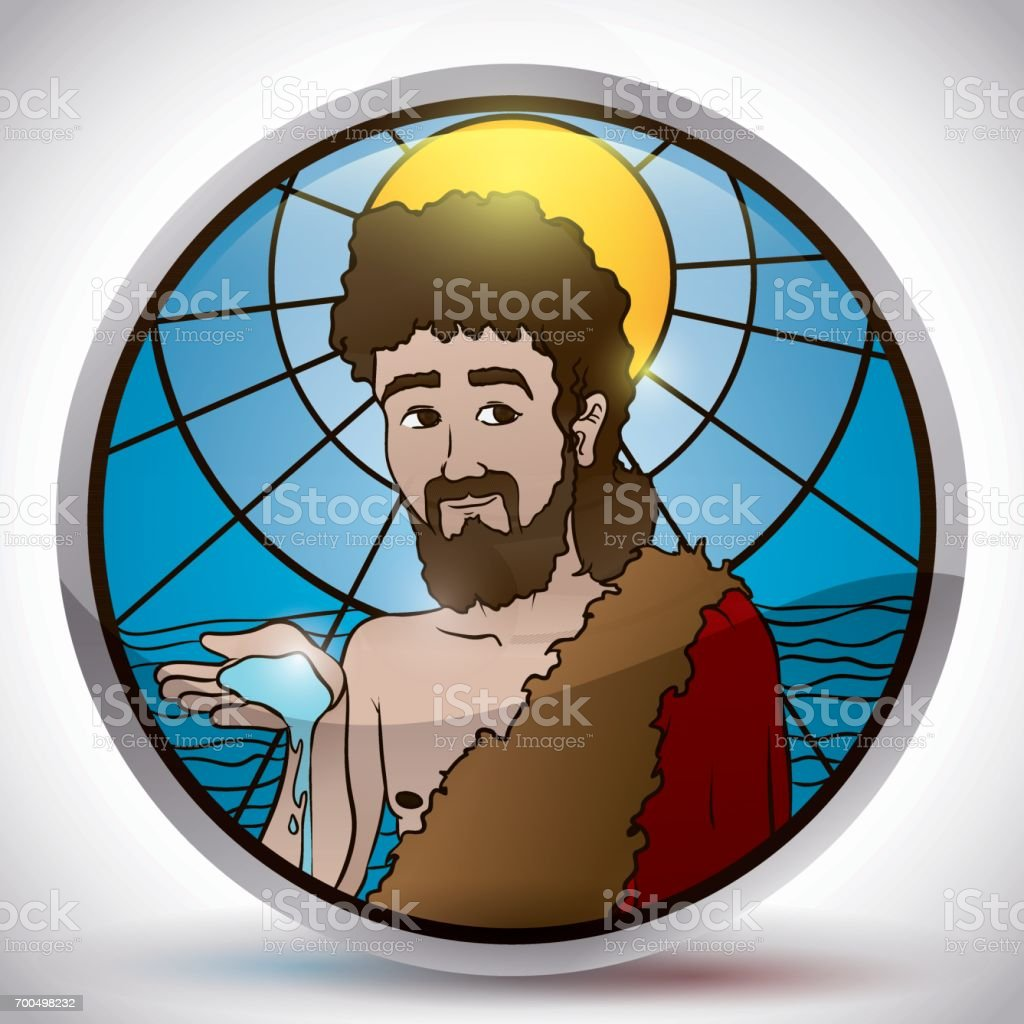 Button with Stained Glass Image of Saint John the Baptist