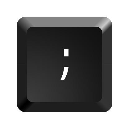 Button with symbol semicolon. Icon Vector Illustration.