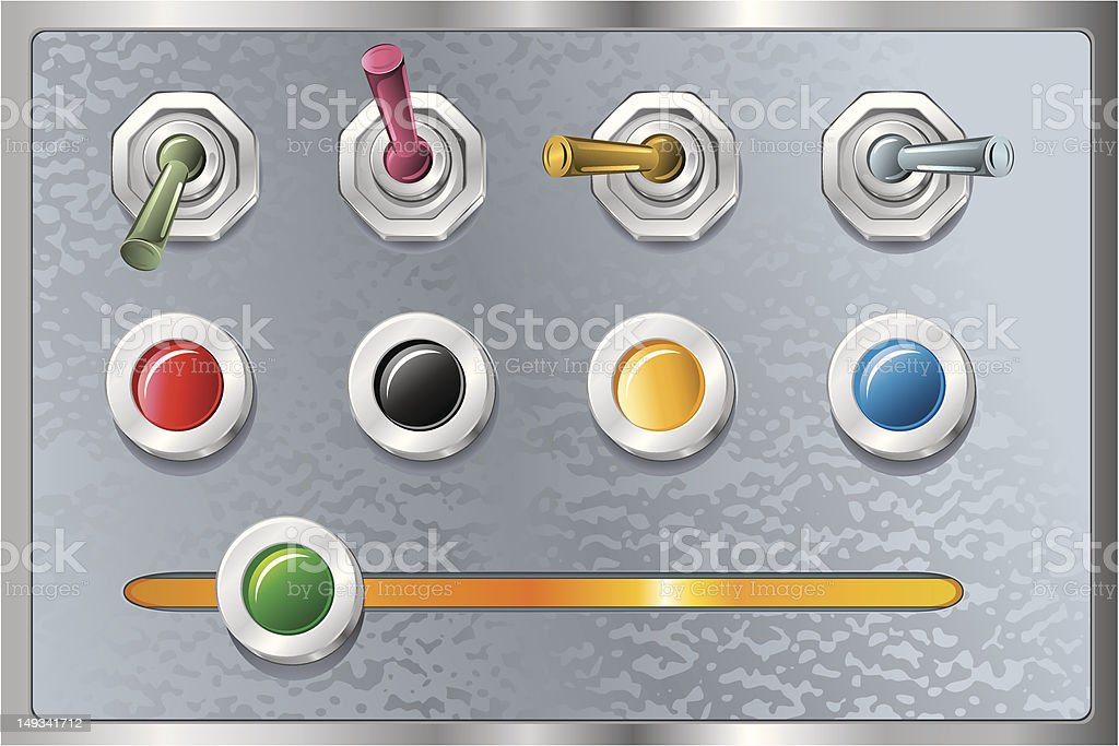 buttons and switches/ retro design elements royalty-free stock vector art