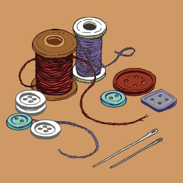 Buttons and Thread vector art illustration