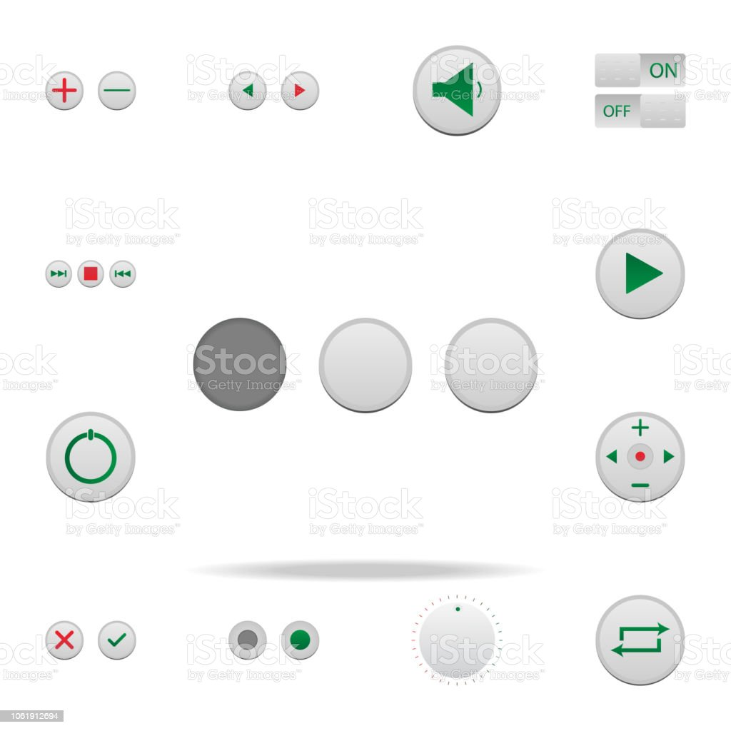 Buttons Colored Icon Elements Of Music Player In Badge Style