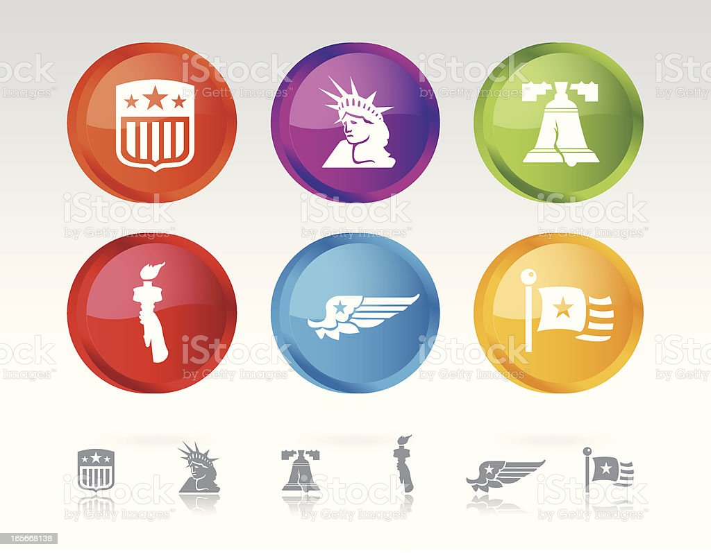 Buttons Displaying  Ideas of Liberty vector art illustration