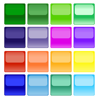 Buttons of different, saturated colors in the form of a square with the effect of reflection on a white background. Unique design of square buttons with mirror effect. Vector graphics. Stock Photo.