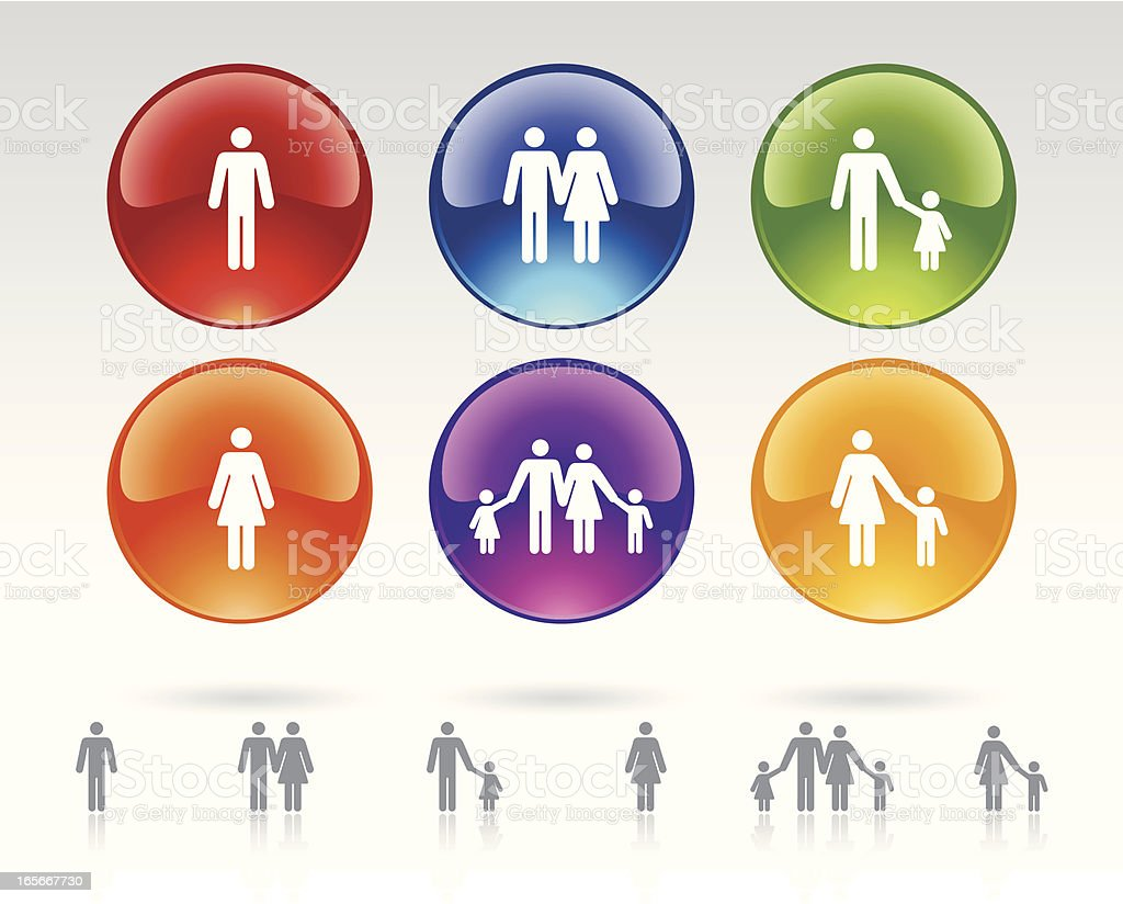 Buttons of Family Relationships royalty-free stock vector art
