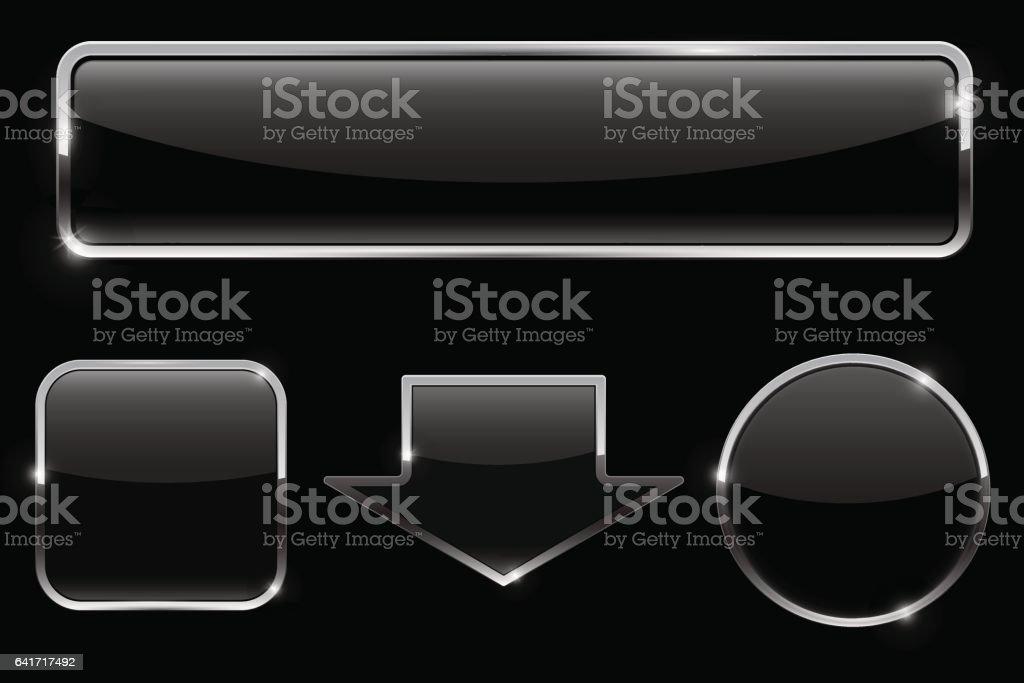 Buttons set. Black icons on black background vector art illustration