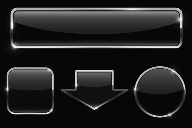 按鈕組。在黑色背景上的黑色圖示向量藝術插圖