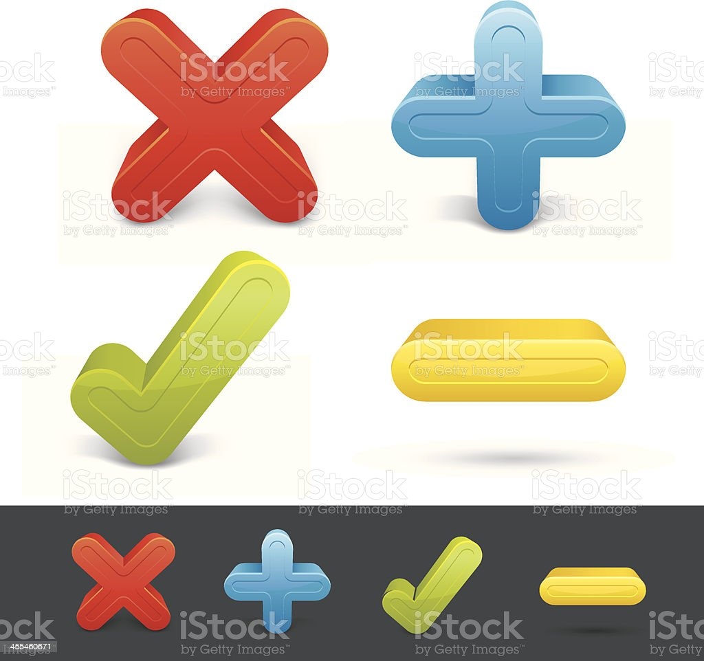Buttons Set - Delete Eccept Add Exclude royalty-free stock vector art