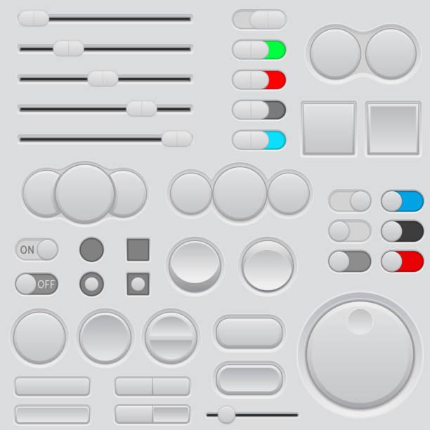 按鈕設置。Web 介面圖示向量藝術插圖