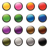 Set of colorful, circular buttons for personal and professional projects.