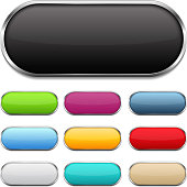 Blank colored buttons with metallic frames and shadows, vector eps10 illustration