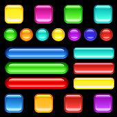 Square, round, lozenge shaped buttons in bright RGB colours